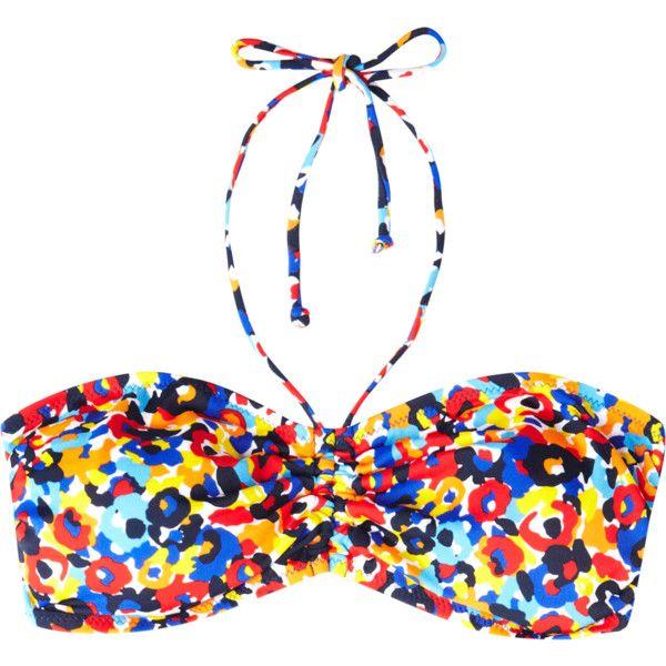 Warehouse Promenade Floral Bandeau Bikini Top ❤ liked on Polyvore