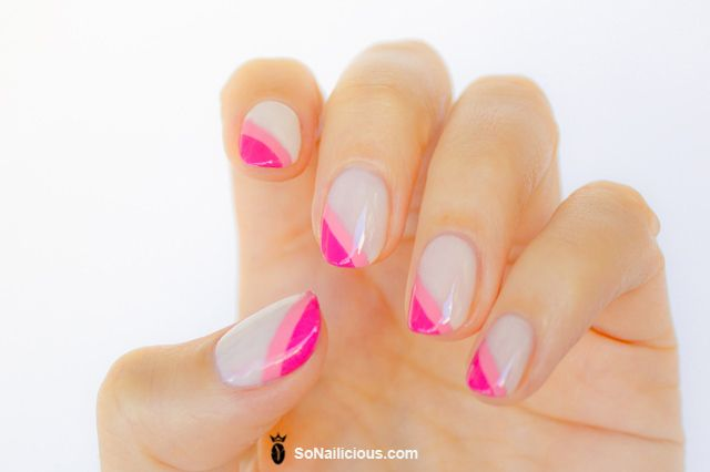 pictures of pink french nails | 28 days of SoNailicious Nails – Day 4 – Diagonal French manicure
