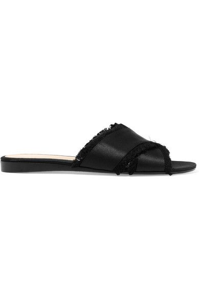 Gianvito Rossi - Frayed Satin Slides - Black - IT40