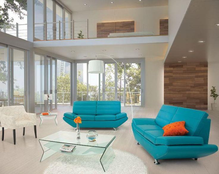 El color alegra cualquier espacio tonos sofisticados de - Sofa azul turquesa ...