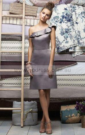 Satin One Shoulder Natural Sheath Floor-length Bridesmaid Dresses 0740356--Hodress