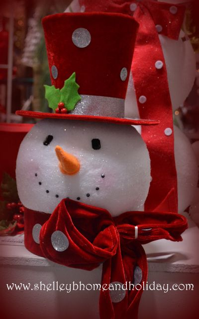 Snowman Head Christmas Tree Topper with Red Polka Dot Top Hat Shelley B Home and Holiday