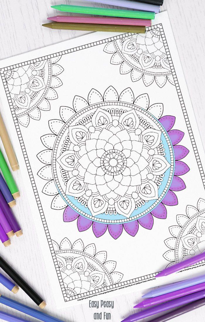 Mandala Coloring Page - Coloring For Adults - (easypeasyandfun)