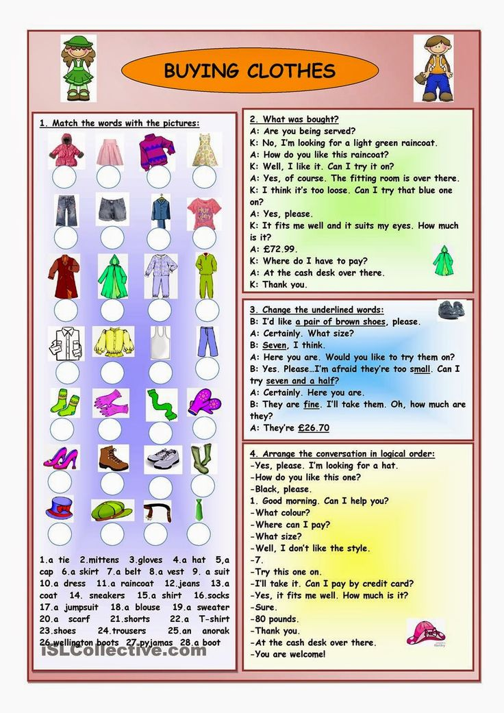 "Shopping Phrases and Conversations: 1 , 2 , 3 , 4 , 5 , 6   Pictures:                 Activities in a ""larger size"": 1 , 2 , 3  Phrasals..."