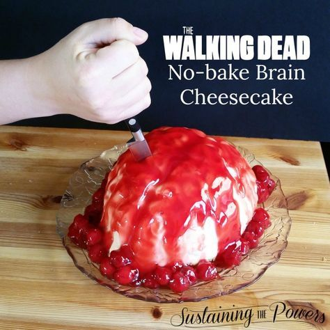 This brain cake is awesome!! An oozing no-bake cheesecake brain cake for your next Walking Dead get together.