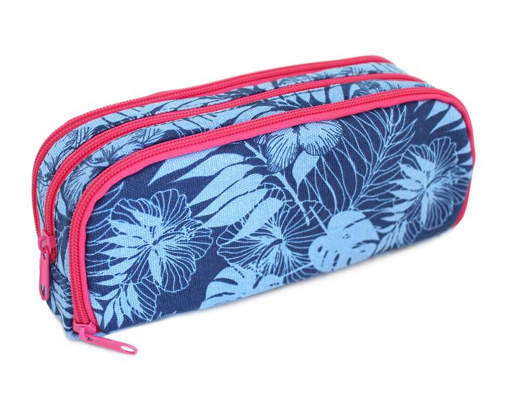 Floral Leaves Large Rectangular 3 Zip Pencil Case