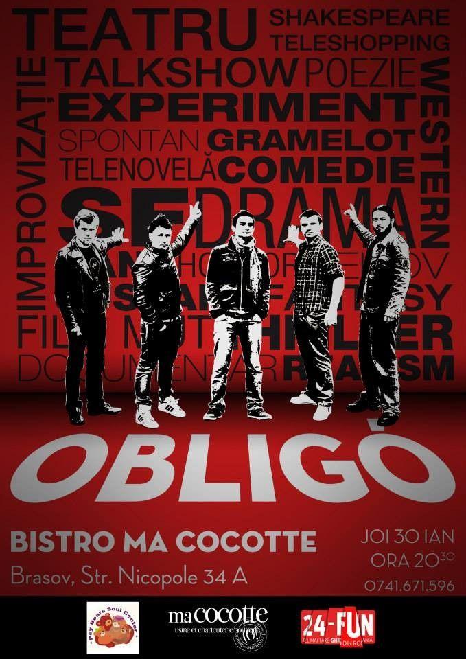 JOi, 30 ianuarie de la ora 20.30, Trupa de teatru OBLIGO din București îți propune o cură sănătoasă de râs printr-un show de improvizație. S...