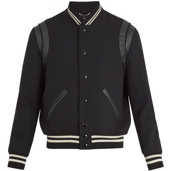Saint Laurent Leather-trimmed wool bomber jacket ($2,550) ❤ liked on Polyvore featuring men's fashion, men's clothing, men's outerwear, men's jackets, black multi, men's wool bomber jacket, mens wool outerwear, mens striped jacket, mens wool jacket and yves saint laurent mens jacket