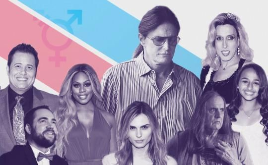 "Bruce Jenner joins a number of transgender celebs who have been outspoken about their experiences. From left to right: Chaz Bono, Ian Harvie, Laverne Cox, Andreja Pejic, Bruce Jenner, Jeffrey Tambor (who portrays a transgender woman on the Amazon show ""Transparent""), Alexis Arquette, and Jazz Jennings"
