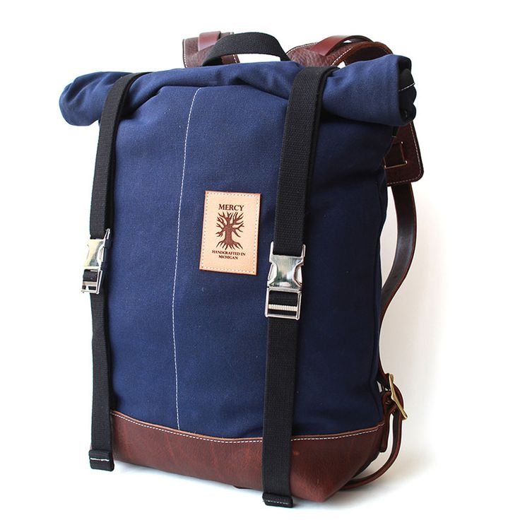 Mercy Roll Top backpack. Water resistant waxed canvas with rolltop to keep the contents dry. Vegetable tanned leather trim on straps and bottom. $365