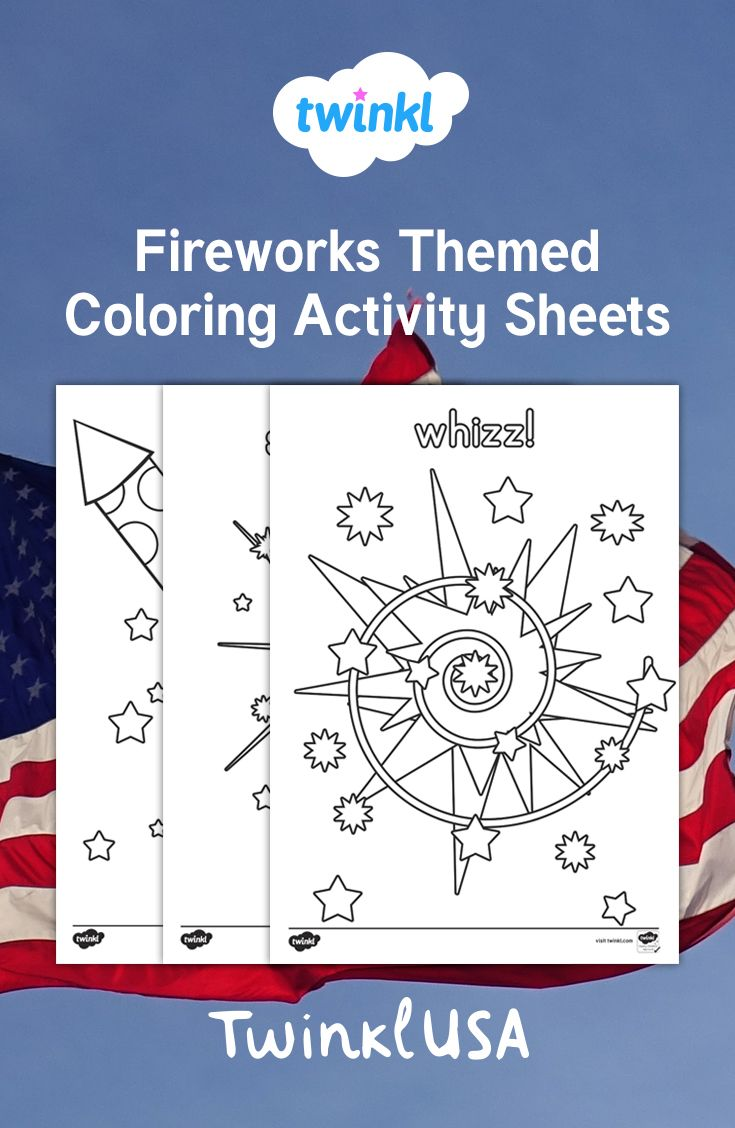 Use These Fun Fireworks Themed Coloring Pages As A Stimulating Mindful Art Activity With Your Students To Celebrate Color Activities Fireworks Art Activities