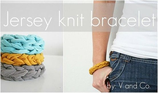 Upcycled jersey shirts or tank tops into bracelets.