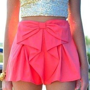 pink glitter cute fashion shorts bow short pink shorts pink bow shorts girly