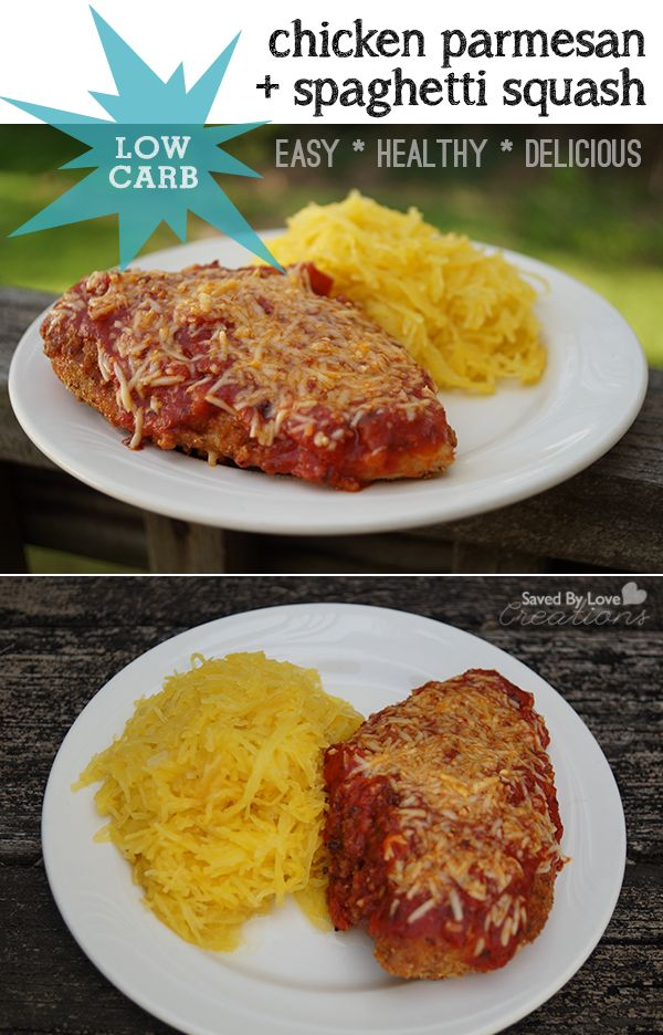 Low Carb Recipes Chicken Parmesan With Spaghetti Squash @savedbyloves healthyeating