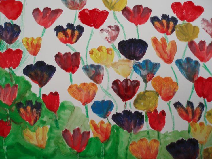 Míša, tulipány, jaro 2015