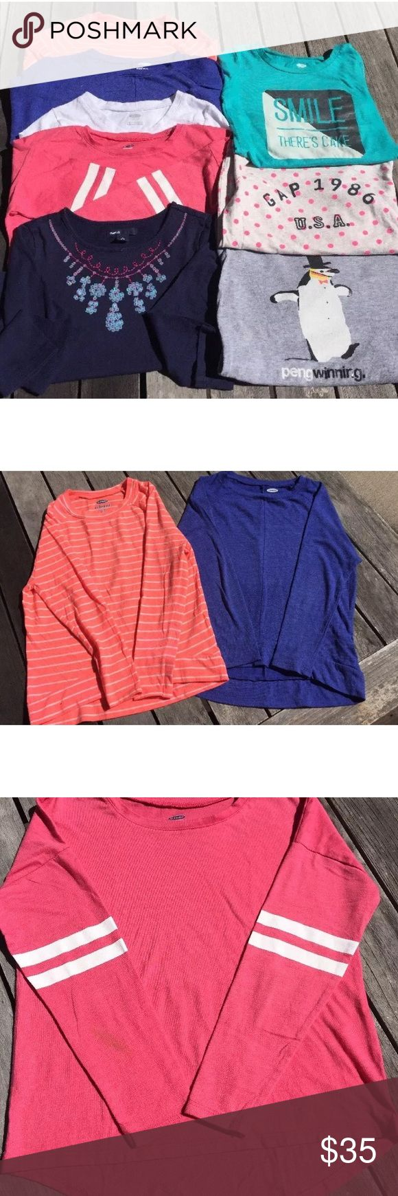 Lot Of 8 Girls Size 6/7 Long Sleeve Shirts Tops Pink old navy with stripes on the sleeves has a small stain on back of right sleeve White old navy has a small stain on front  Blue one has a small stain on front and some piling  Navy Gap Kids with jewels has some fading due to washing. All jewels are in tact. Pengwinning Old Navy - the penguin is a little faded due to washing  Gap 1986 USA - GapKids has some piling and fading due to washing Smile There's Cake - Old Navy, some piling due to…