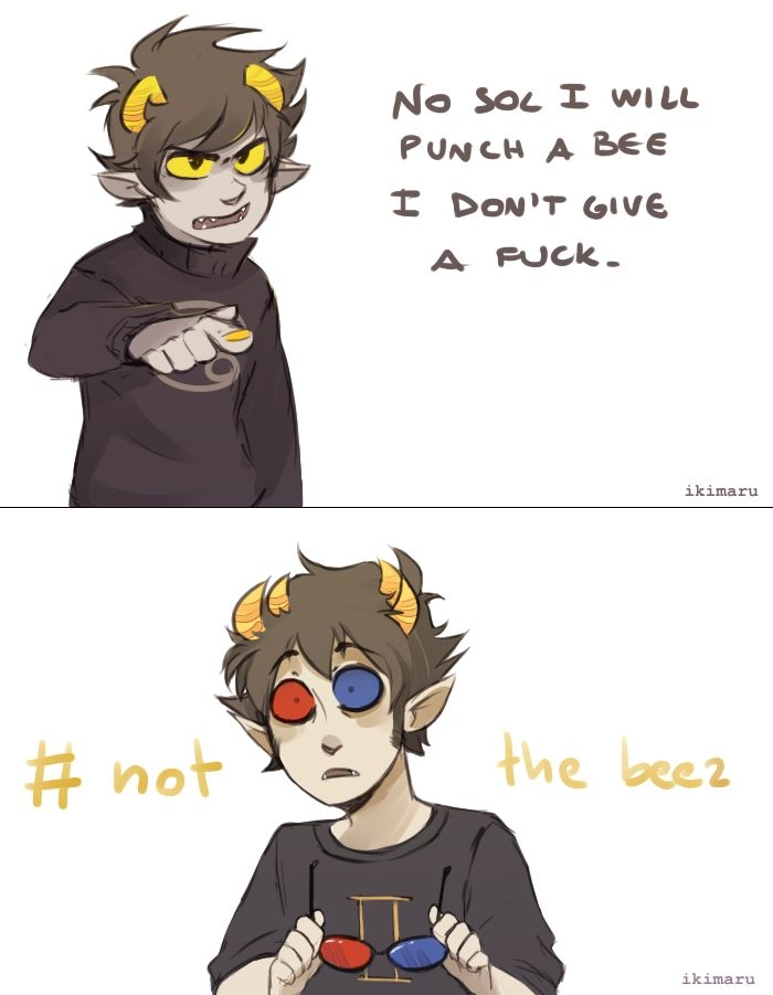 Not the bees, anything but the bees. Fanart by Ikimaru. Karkat Vantas and Sollux Captor from Homestuck.