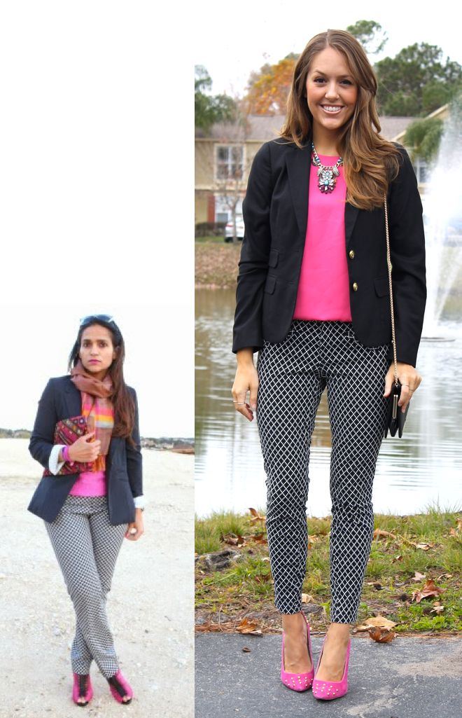 Trying this combo with grey slacks (versus pattern), pink  top and black blazer!