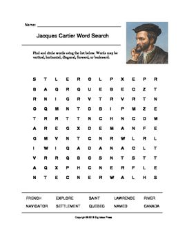 Jacques Cartier Word Search Grades 2 4 Explorers