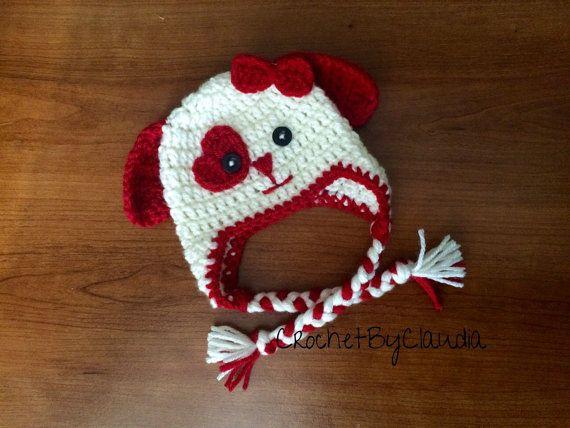Crochet Valentine's Day Puppy Love Beanie/Girl by CrochetByClaudia
