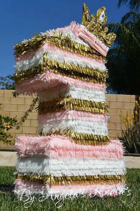 color de rosa y oro primer piñata de cumpleaños por angelaspinatas