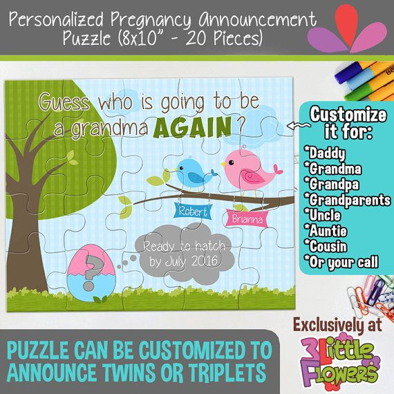 "Personalized Pregnancy Announcement Puzzle - Personalized 8"" x 10"" Puzzle - Grandmother Pregnancy Announcement Puzzle - Custom Puzzle"