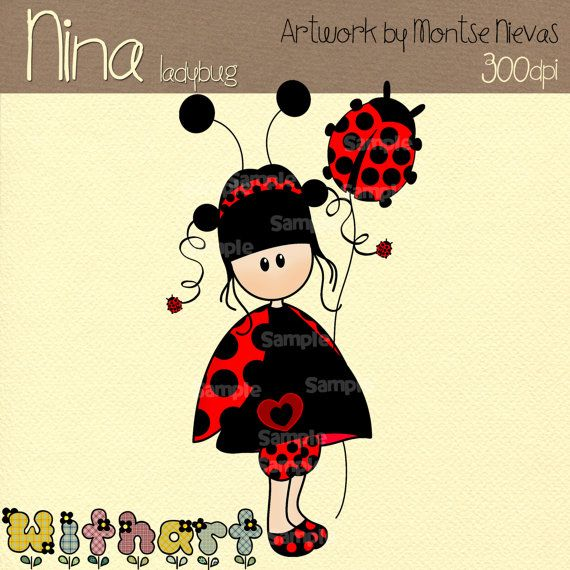 Cute ladybug Nina dolls 0078 digital clip art set by Withart, $2.99
