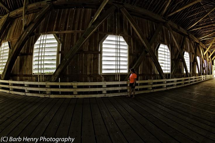 Old covered bridge interior in Oregon