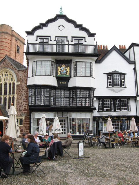 Mol's Coffee House, Exeter, by Derek Voller, via Geograph. Said to be England's oldest coffee house, circa 1596 and meeting place of Sir Francis Drake the first English navigator to sail around the world in 1577-1580.