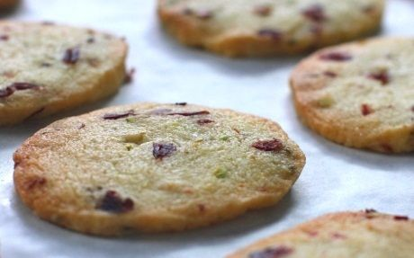 Cranberry Nut Shortbread Cookies with Ice Cream and Passion Fruit Sauce Recipe by Siba Mtongana