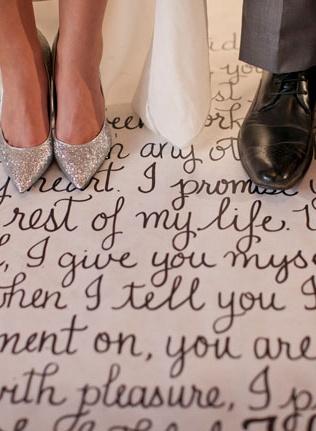 wedding idea: make aisle runner with vows written on it....photo: This Modern Romance