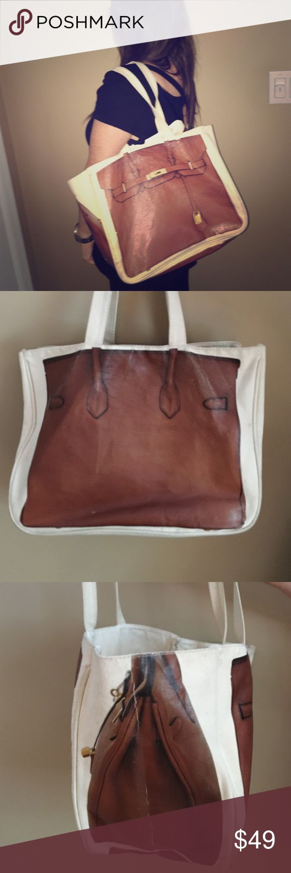 Thursday Friday Canvas Birkin pictured tote bag Fun canvas tote bag for everyday.  Or use it for an extra bag to carry all your things. If you always wanted a Birken bag now you can have one.  Such a practical trendy bag. Thursday Friday Bags Totes