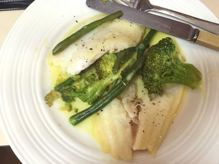 Steamed fish and green veg.