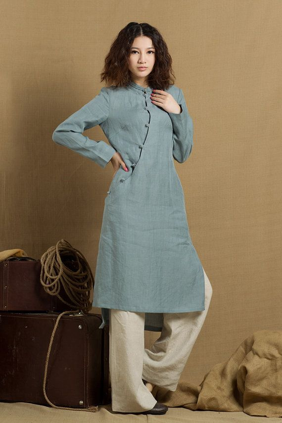 linen tunic dress in grey blue / linen tunic blouse / longsleeve winter blouse top - custom