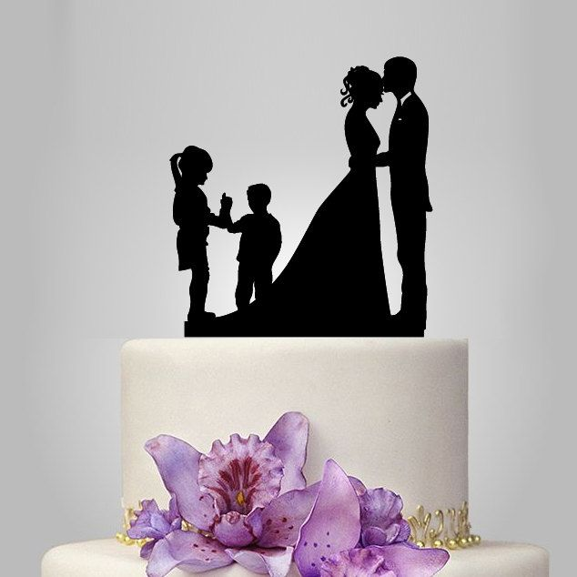 family wedding cake topper with boy and girl, bride and groom silhouette, rustic cake topper, wedding silhouette, funny cake decor, acrylic by walldecal76 on Etsy