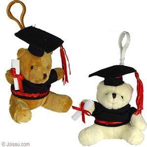 PLUSH GRADUATION TEDDY BEAR ZIPPER PULL KEYCHAINS. With button eyes, a button nose and a diploma, these will delight any graduate. Perfect to use as a keychain or a backpack zipper pull. Assorted natural colors. Sorry, no color choice available.  Size 4 Inches plus 2 Inch snap ring