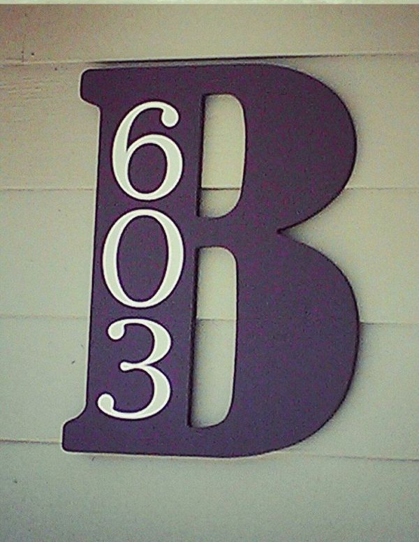 Pick up a letter at Hobby Lobby or craft store; paint it your color; add house numbers! by helene