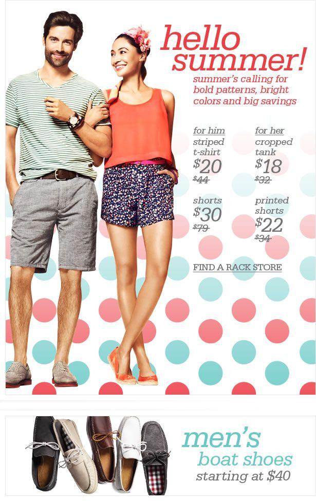 Nordstrom Rack ad Tank shirt, Fashion design, Summer trends