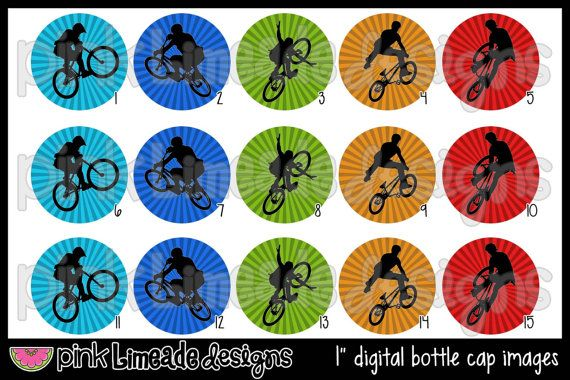 BMX -- Bottle Cap Art for hair bows or other bottle cap crafts -- $2.00