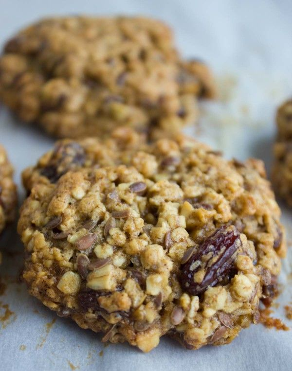 Healthyish Oatmeal Raisin Cookies -- so good! I added a little more flour, baked for an extra minute or two, and used ground flax seed and walnuts because I didn't have whole flax seed.