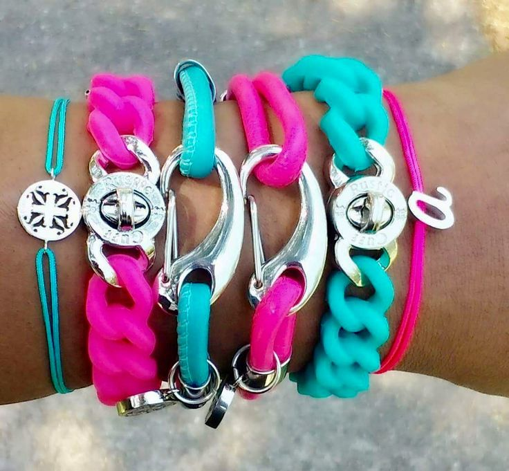 Hot Pink/Turquoise Rustic Cuff Stack