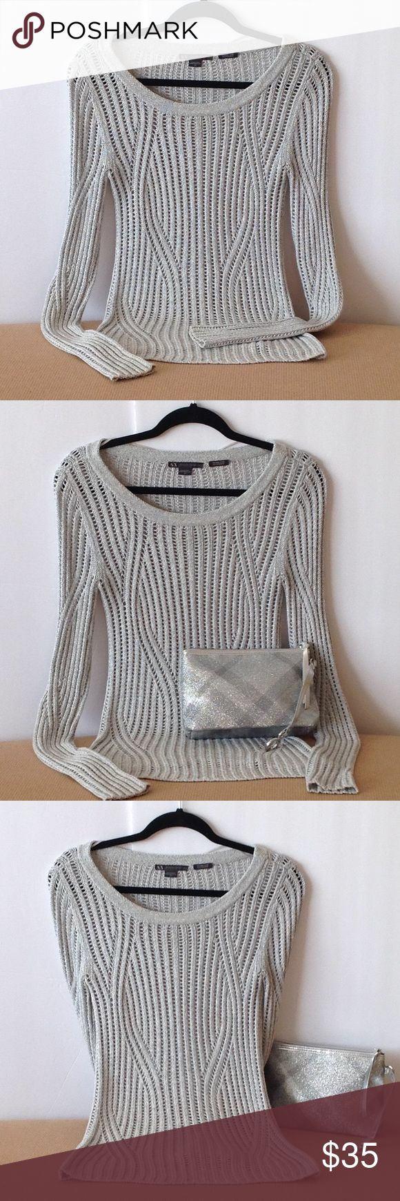 🍃🌹Armani Exchange - 'Ice Grey Italian Yarn' Top Super Cute and in Excellent Condition Armani Exchange Scoop Neck Italian Top. Size Small-Petite. Iced Grey with Subtle Silver threading. Look at the Back of this Top. It's designed in Perfect Formation!! No Snags or Loose Threads. Perfect with Designer Jeans or Pencil Skirts. Price is Firm🍃🌹. Armani Exchange Tops