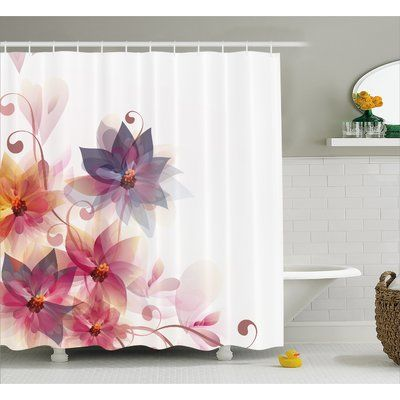 Ebern Designs Gould Flowers Burt And Leaf Single Shower Curtain