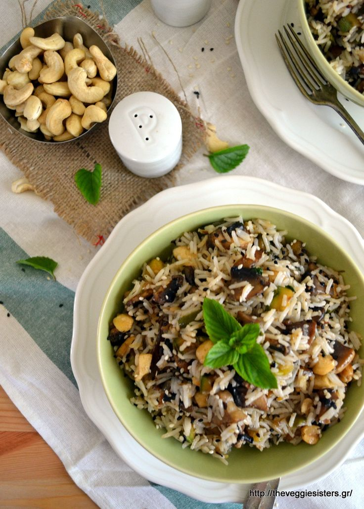 Basmati rice with mushrooms and cashews! A light yummy vegan meal!