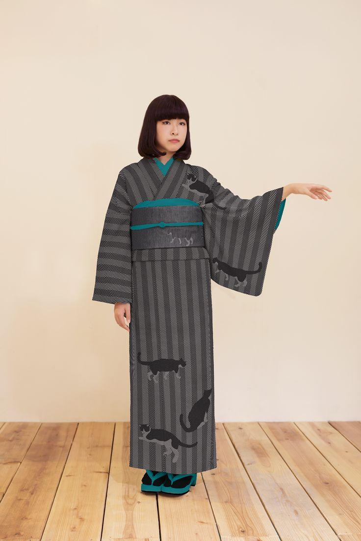 ハチワレ猫袷着物 グレー - 浴衣と夏きもの さく研究所浴衣と夏きもの さく研究所