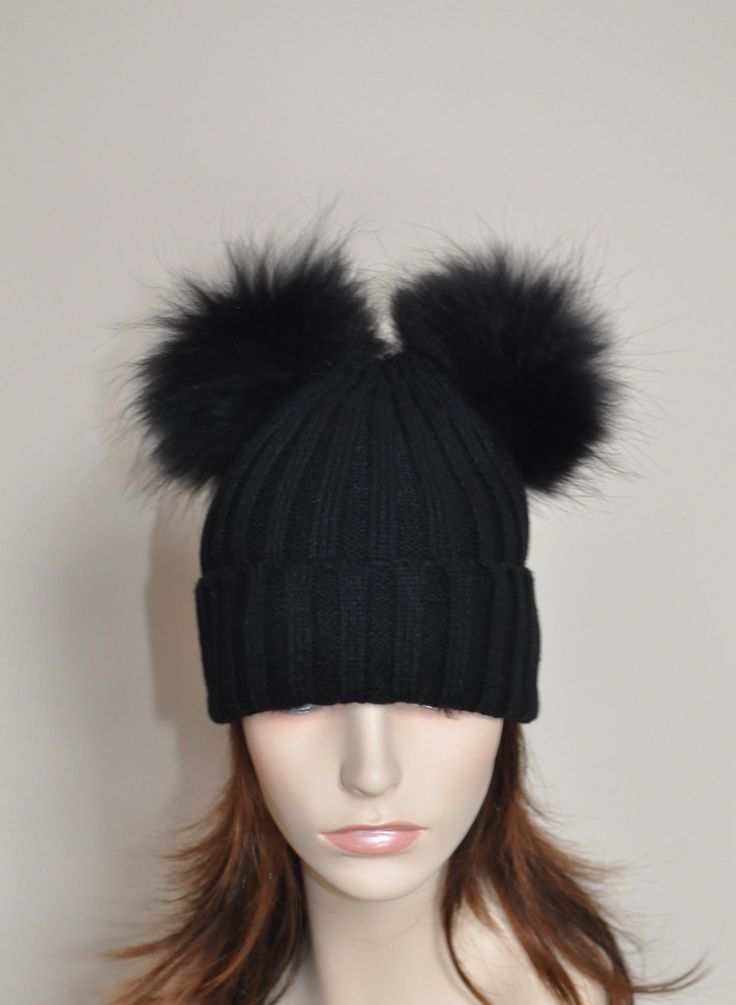 Black Beanie PomPom Hat 2 Fur pompoms Ribbed Beanie Black Hat Double Bobbles Black hat Christmas Gift under 100 by lucymir on Etsy