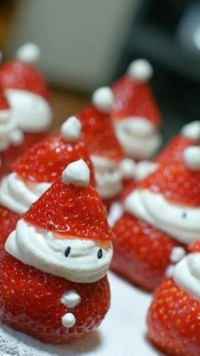 Santa-berry Christmas party Food Ideas : Strawberry:  you can also add a brownie base.