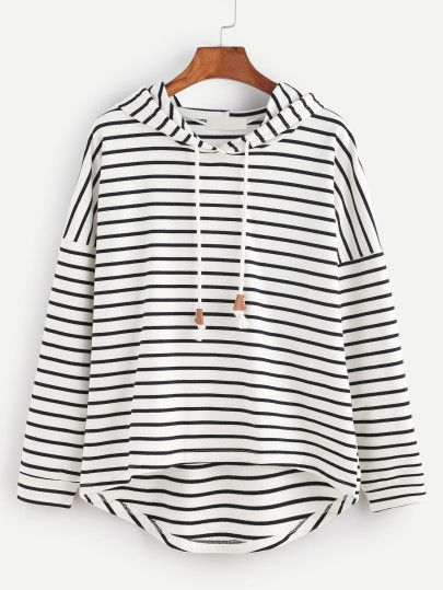 Awesome Black White Striped Drop Shoulder High Low Hooded Sweatshirt