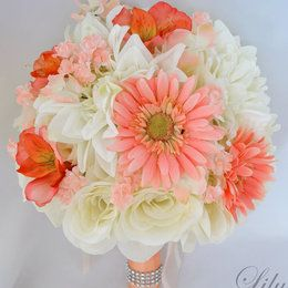 coral peach mint ivory wedding bouquets - Google Search