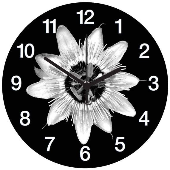 Black and White Passion Flower Clock by AtticLightHome on Etsy